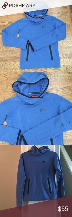 SOLD! Nike Tech Fleece Funnel Hoodie Beautiful blue Nike Tech Fleece Funnel Hoodie.  This is a cozy fleece hoodie with overlapping neckline. Side zip pockets, thumbholes, and a sleek athletic look. Excellent used condition. Nike Tops Sweatshirts & Hoodies