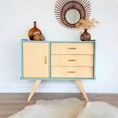Chest of drawers, dresser, mid century modern, cabinet, vintage & scandinavian design, blue dresser, model Bertille