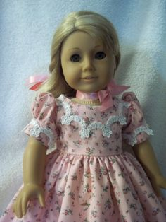 Mid 1800 style dress made for American Girl dolls pink rosebuds caroline marie grace samantha addy historical