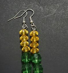 Swarovski Emerald & Canary Yellow Beaded Dangle Earrings