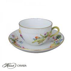 Fleuraison Teacup and Saucer   Herend Canada