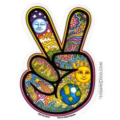 Day/Night Peace Hand Window Sticker for car