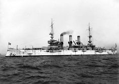 USS Minnesota seen in 1908 as part of the Great White Fleet.