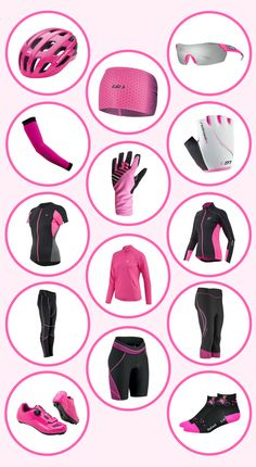 This is a beginner's guide to cycling gear. It uses stylishly fabulous pink cycling gear as an example of what type of clothingis out there for you to wear! Whether it's road cycling, mountain biking, bike touring, indoor cycling, or a spinning workout, here are some ideas for your cycling outfit!This is a list of fitnessgear to consider for your cycling workout.