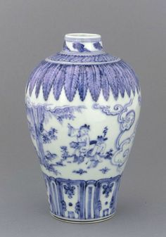 Vase meiping, mid 15th century, Ming dynasty. Porcelain with cobalt pigment under clear colorless glaze. H: 22.8 W: 14.4 cm.  Smithsonian Institution