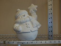 Ready to Paint Snowman with Scarf and holding a star Ceramic Bisque