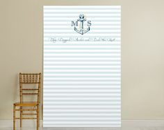 Personalized Photo Booth Backdrop - Kate's Nautical Wedding Collection - Light Blue Stripe Anchor