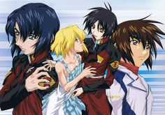 Shin, Athrun, Kira, and Cagalli Gundam Seed, Saga, Mobile Suit, Bad Boys, Anime Characters, Seeds, Comics, Portrait, Book Stuff