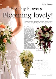 Page 37 of The Perfect Wedding guide will help you pick your perfect bouquet Cascade Bouquet, Rustic Flowers, Bridal Flowers, Simple Dresses, Big Day, Perfect Wedding, Bouquets, One Shoulder Wedding Dress, Bloom