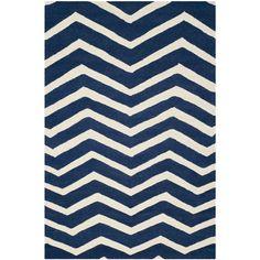 Safavieh Handmade Moroccan Cambridge Canvas-backed Navy (Blue)/ Ivory Wool Rug (8' x 10') (CAM714M-8), Size 8' x 10' (Cotton, Chevron)