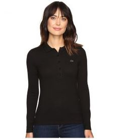 Lacoste Long Sleeve Stretch Pique Polo (Black) Women's Long Sleeve Pullover