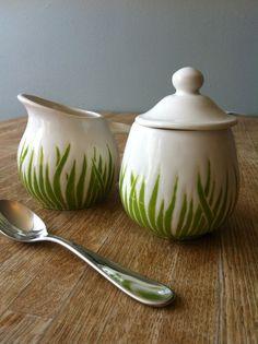 sold green grass ceramic sugar bowl and creamer by jessica howard. $52.00, via Etsy.