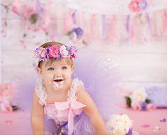 Cake Smash, Girl Cake Smash, Whimsical Cake Smash, Flower Cake Smash, Pink and Purple Cake Smash, Brandie Narola Photography,