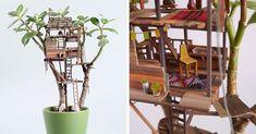LA-based artist Jedediah Corwyn Voltz makes fairy-sized treehouses around houseplants