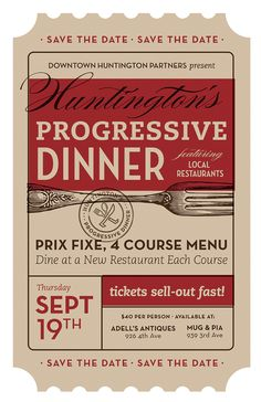 Progressive Dinner Poster by Trish Ward #Design #Ticket #SaveTheDate