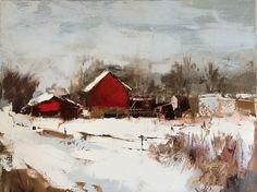 Red Barn in Winter - Oil