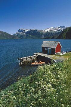 Wooden house at Nordfjord, Sogn og Fjordane, Norway