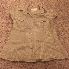 Micheal kors button shirt Gold details. Excellent used condition. No signs of flaws or wear. Buttons have MK logo Michael Kors Tops Button Down Shirts