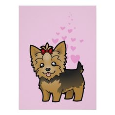 Shop Cartoon Yorkshire Terrier (short hair with bow) Cutout created by CartoonizeMyPet. Silky Terrier, Puppy Care, Pet Puppy, Cliparts Free, Yorkie Dogs, Yorkies, Yorkshire Terrier Puppies, Rottweiler Puppies, Happy Puppy