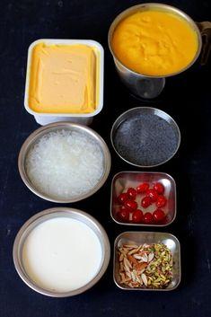 Mango falooda recipe, a delicious summer dessert preparation with faluda sev, mango puree, mango icecream & falooda sev. How to make mango falooda ice cream Mango Dessert Recipes, Indian Dessert Recipes, Mango Recipes, Indian Sweets, Köstliche Desserts, Ice Cream Recipes, Sweet Recipes, Delicious Desserts, Healthy Desserts