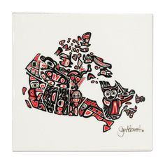 Jennifer Adomeit Our Home and Native Land Ceramic Tile-Trivet Native Canadian, Canadian Artists, Canadian Tattoo, Kids Poems, Haida Art, Inuit Art, Indigenous Art, Woman Drawing, Aboriginal Art