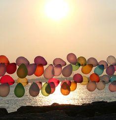 balloons at sunset