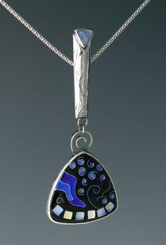Silver cloisonne' enamel, blue chalcedony, patterned silver pendant.