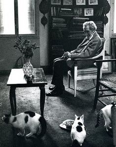 Ezra Pound with his three cats (also tried for high treason after the war)    Tame Cat  by Ezra Pound    It rests me to be among beautiful women  Why should one always lie about such matters?  I repeat:  It rests me to converse with beautiful women  Even though we talk nothing but nonsense,    The purring of the invisible antennae  Is both stimulating and delightful.