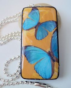 Yellow & Blue Butterfly Pendant Domino by HappyPiecesJewelry
