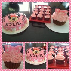 Minnie Mouse Cake, Cupcakes, and Giant Cupcake