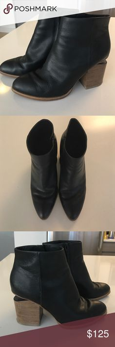 Alexander Wang Booties size 9.5 Alexander Wang black leather booties with cutout heel size 9.5. Heel height about 3 inches. In good condition Alexander Wang Shoes Ankle Boots & Booties