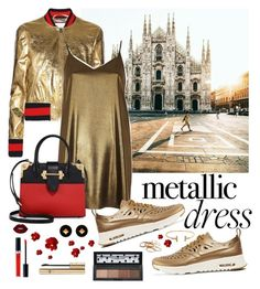 """""""Metallic Dress (Italy#1)"""" by stylechristine ❤ liked on Polyvore featuring Gucci, River Island, Prada, NIKE, Christian Dior, Hermès, Kendra Scott, Lime Crime and Dolce&Gabbana"""