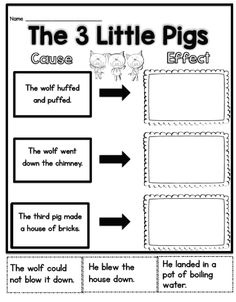 3 little pigs cause & effect