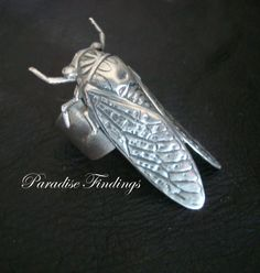 Ring Steampunk Cicada Winged Bug Ring Sterling by ParadiseFindings
