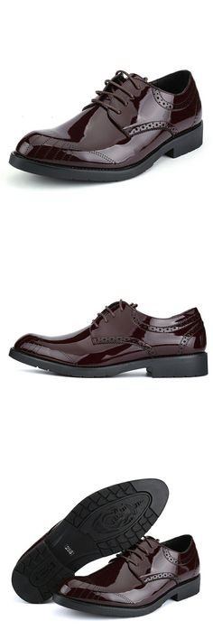 New Arrival Retro Men Business Shoes Shiny Patent Leather Pointed Toe Dress Shoes Mens Wedding Calcados Black Red Burgundy