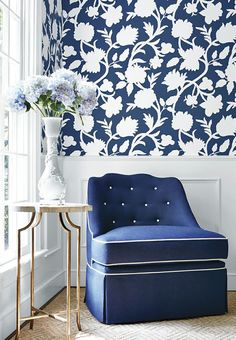 Blue and white floral wall paper