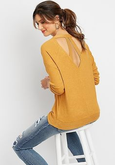 9d58ff276b80c solid brushed lattice back pullover sweatshirt