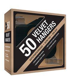 Another great find on #zulily! Black Ultrathin Nonslip Velvet Hanger - Set of 50 #zulilyfinds