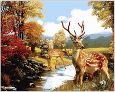 40*50 cm cuadros decoracion home decor wall pictures for living room oil painting on canvas Sika deer painting by numbers OP159 #Affiliate