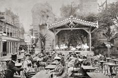 The Elephant in the gardens of the Moulin Rouge, around 1900. The elephant was said to contain an opium den.