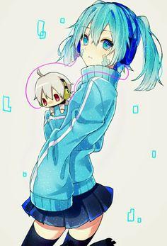 Ene & chibi!Konoha   Mekakucity Actors #anime