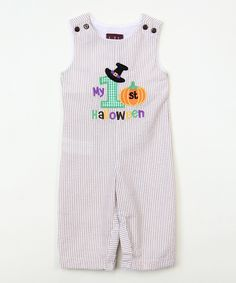 Loving this Gray Stripe 'My 1st Halloween' Overalls - Infant on #zulily! #zulilyfinds