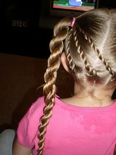 Triple rope braids into piggies and thick rope braids