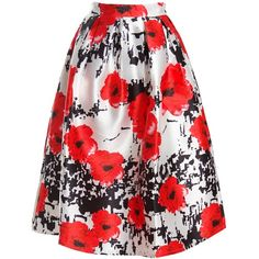 Sans Souci Floral pleated full skirt ($39) ❤ liked on Polyvore featuring skirts, red, a line midi skirt, pleated a line skirt, red midi skirt, red pleated skirt and pleated midi skirt