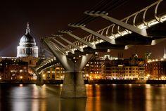 St. Paul's Cathedral & Millennium Bridge, a steel suspension bridge for pedestrians crossing the River Thames in London, England;  photo by Matmat13790