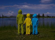The new EZ Dry Onezies in green, yellow and blue. The original children's towel onesie.