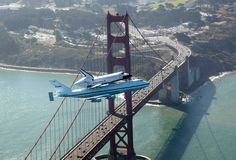 the Space Shuttle Endeavour soars over the Golden Gate Bridge in San Francisco. #sanfrancisco #sf