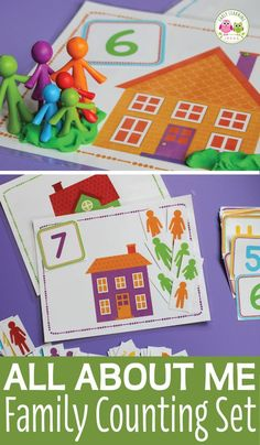 All About Me Family Counting Activity - For your all about me theme, family theme, or Thanksgiving theme units. Kids can practice counting, - Preschool Family Theme, Preschool Math Games, Eyfs Activities, Preschool Activities, Group Activities, All About Me Preschool Theme Activities, Nursery Activities, Group Games, All About Me Eyfs