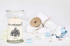 Eine Kerze zum Entspannen - der angenehme Duft nach frisch gewaschener Wäsche und ein Ring aus 925er Silber in der Kerze mit Schmuck erfreuen jede Frau.