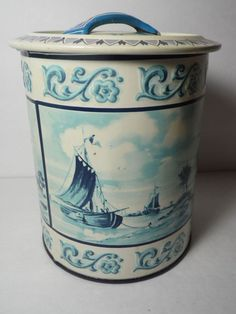 Vintage Nautical Holland Windmill Ships Tea Tin Lithograph Made Western Germany